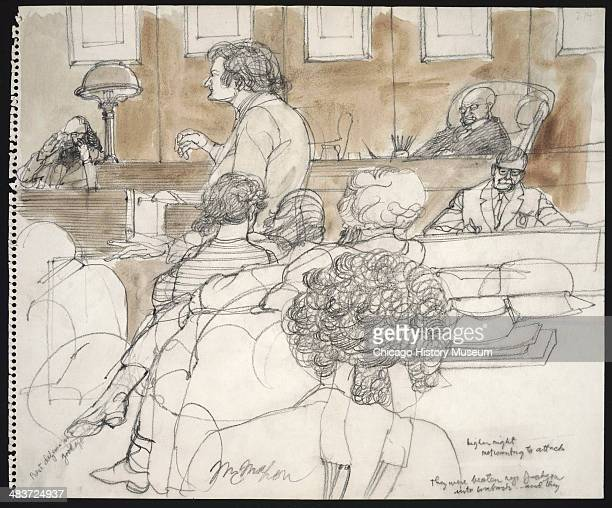 Allen Ginsberg on the stand as viewed from behind the defense table in a courtroom illustration during the trial of the Chicago Eight Chicago...