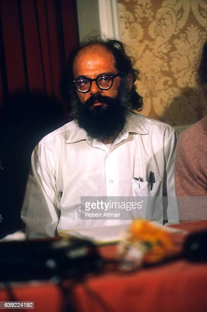 Allen Ginsberg speaks during a press conference for Tim Leary's credibility at the Jack Tar Hotel on November 15 1971 in San Francisco California