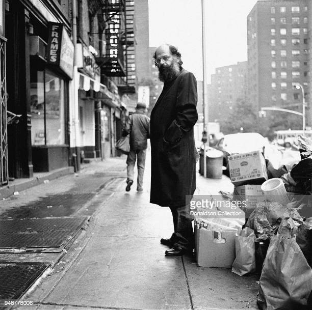 Allen Ginsberg stands on East 14 Street during a photo shoot held in 1974 in New York City