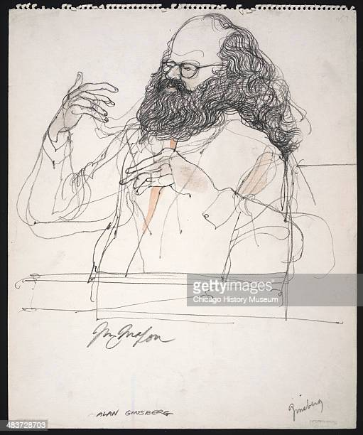 Allen Ginsberg testifying in a courtroom illustration during the trial of the Chicago Eight Chicago Illinois late 1969 or early 1970 The Eight or...