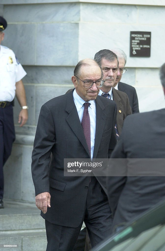 Allen Greenspan, leaving a meeting at the Capital which also included former Treasury Secretary Robert Rubin, in route to the White House for a meeting with President Bush on Wednesday.