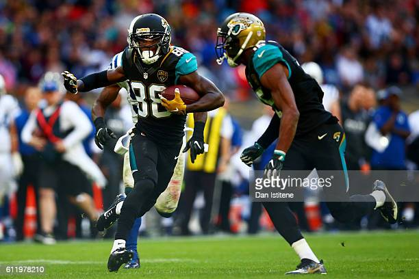 Allen Hurns of the Jacksonville Jaguars breaks free to score a touchdown during the NFL game between Indianapolis Colts and Jacksonville Jaguars at...