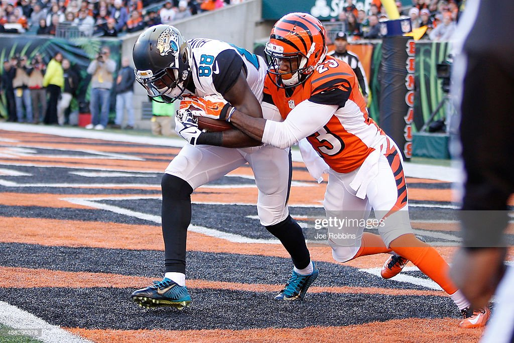 Allen Hurns #88 of the Jacksonville Jaguars catches the ball in front of Terence Newman #23 of the Cincinnati Bengals to score a touchdown during the fourth quarter at Paul Brown Stadium on November 2, 2014 in Cincinnati, Ohio. Cincinnati defeated Jacksonville 33-23.