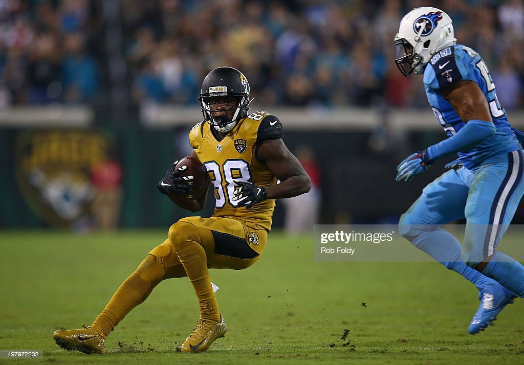 Allen Hurns #88 of the Jacksonville Jaguars in action during the second half of the game against the Tennessee Titans at EverBank Field on November 19, 2015 in Jacksonville, Florida.