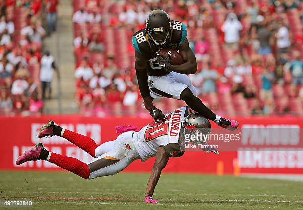 Allen Hurns of the Jacksonville Jaguars makes a catch over Bradley McDougald of the Tampa Bay Buccaneers during a game at Raymond James Stadium on...