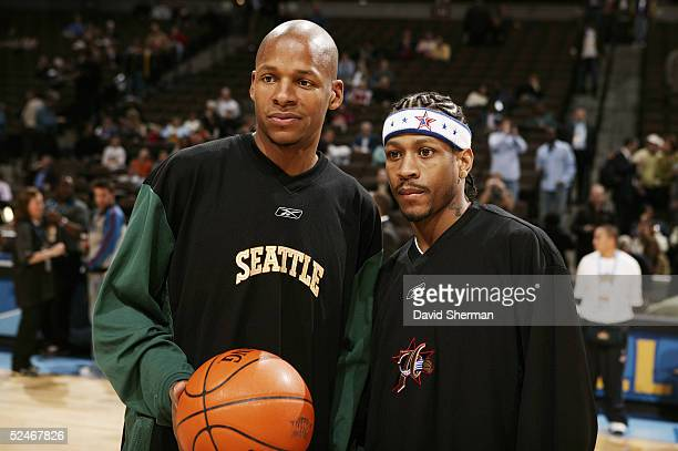 Allen Inverson of the Philadelphia 76ers and Ray Allen of the Seattle Supersonics pose for a photograph during the 54th AllStar Game part of 2005 NBA...