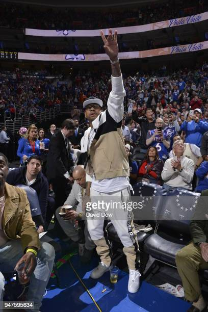 Allen Iverson acknowledges the crowd as he attends a game between Miami Heat and the Philadelphia 76ers in Game Two of Round One of the 2018 NBA...
