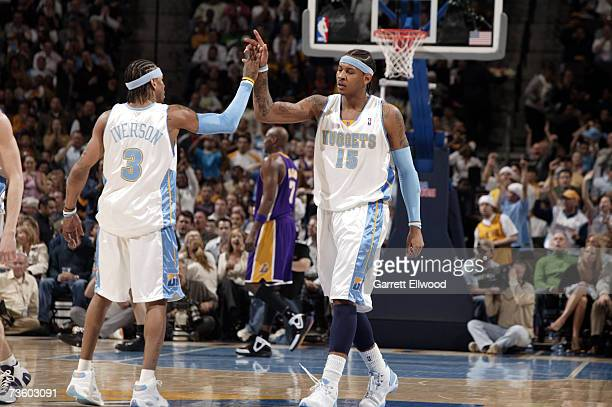 Allen Iverson and Carmelo Anthony of the Denver Nuggets celebrate against the Los Angeles Lakers on March 15 2007 at the Pepsi Center in Denver...