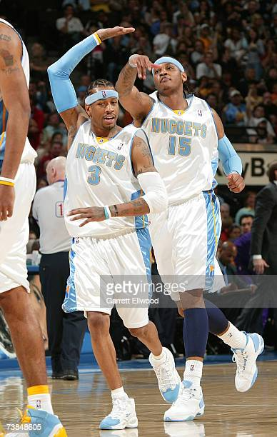 Allen Iverson and Carmelo Anthony of the Denver Nuggets celebrate against the Los Angeles Lakers on April 9 2007 at the Pepsi Center in Denver...