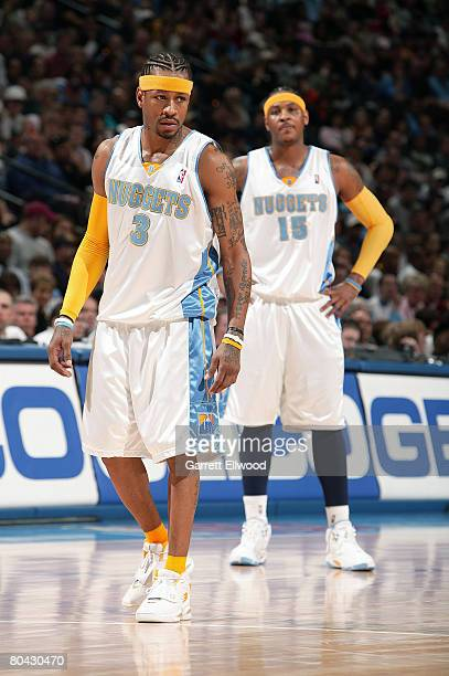 Allen Iverson and Carmelo Anthony of the Denver Nuggets during the game against the Golden State Warriors on March 29 2008 at the Pepsi Center in...