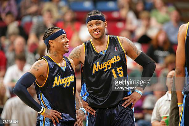 Allen Iverson and Carmelo Anthony of the Denver Nuggets get ready to take on the Sacramento Kings at ARCO Arena March 11 2007 in Sacramento...
