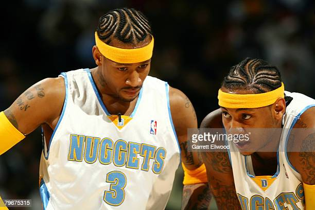 Allen Iverson and Carmelo Anthony of the Denver Nuggets talk during NBA action against the Washington Wizards on February 8 2008 at the Pepsi Center...