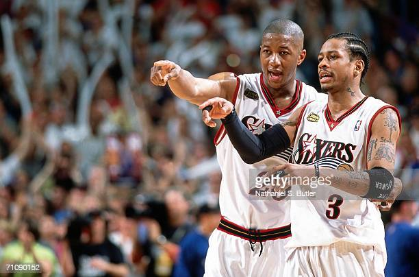 Allen Iverson and Eric Snow of the Philadelphia 76ers point out strategy during game three of the 2001 NBA Finals against the Los Angeles Lakers...