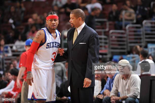 Allen Iverson and Head Coach Eddie Jordan of the Philadelphia 76ers talk during the game against the Detroit Pistons on December 9 2009 at the...