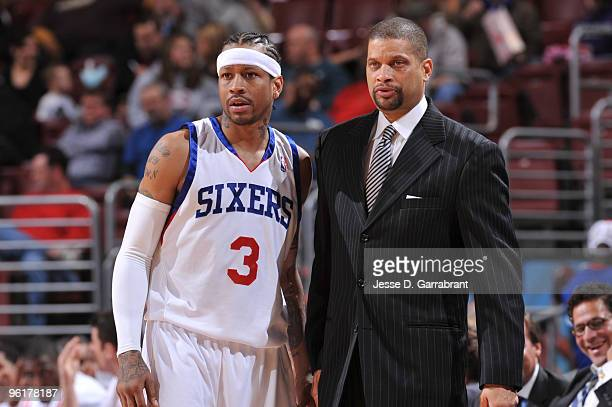Allen Iverson and Head Coach Eddie Jordan of the Philadelphia 76ers discuss a play against the Indiana Pacers during the game on January 25 2010 at...