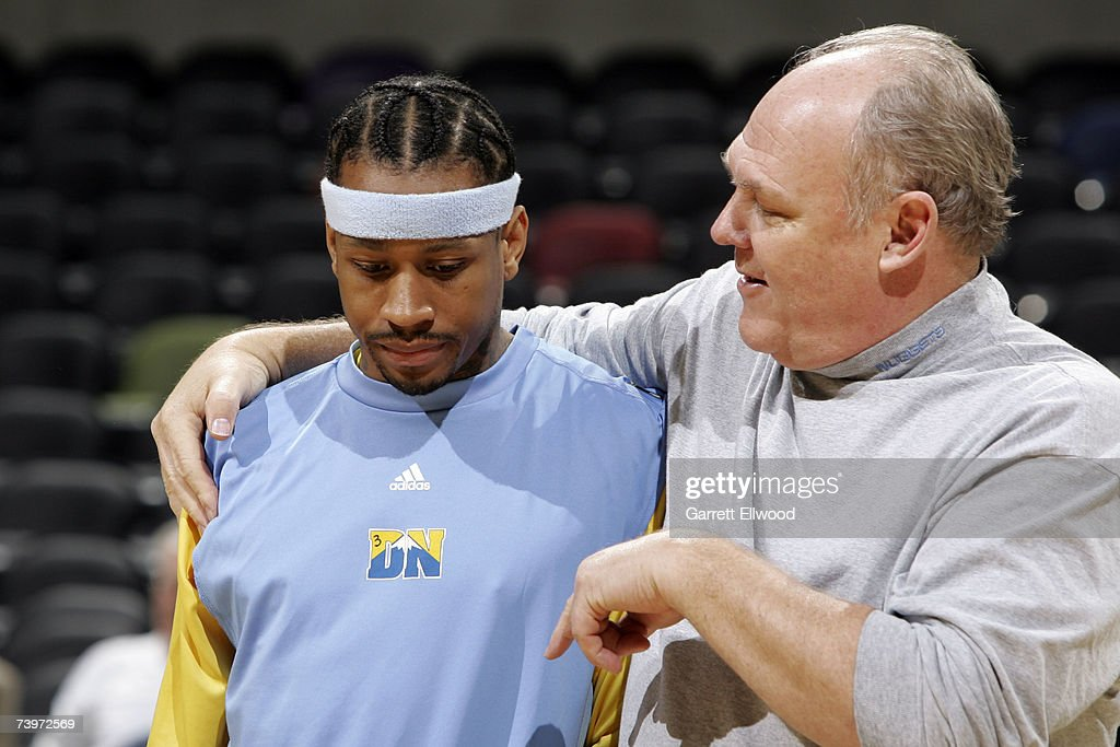 Allen Iverson #3 and head coach George Karl of the Denver Nuggets talk during practice prior to Game two against the San Antonio Spurs in the Western Conference Quarterfinals during the 2007 NBA Playoffs at AT&T Center on April 25, 2007 in San Antonio, Texas.