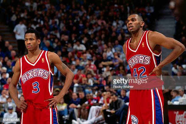 Allen Iverson and Jerry Stackhouse of the Philadelphia 76ers stands against the Sacramento Kings on January 5, 1997 at Arco Arena in Sacramento,...