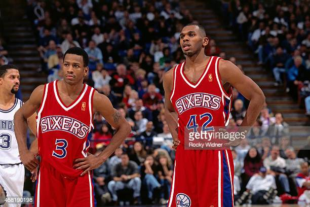 Allen Iverson and Jerry Stackhouse of the Philadelphia 76ers stands against the Sacramento Kings on January 5 1997 at Arco Arena in Sacramento...