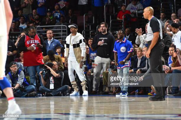 Allen Iverson and Kevin Hart react during Game Two of Round One of the 2018 NBA Playoffs between the Philadelphia 76ers and Miami Heat on April 16...