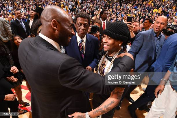 Allen Iverson and Kobe Bryant greet after the jersey retirement ceremony on December 18 2017 at STAPLES Center in Los Angeles California NOTE TO USER...