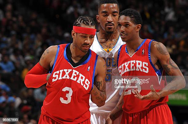 Allen Iverson and Louis Williams of the Philadelphia 76ers talk while JR Smith of the Denver Nuggets listens in on January 3 2010 at the Pepsi Center...