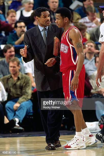 Allen Iverson and Maurice Cheeks of the Philadelphia 76ers talks against the Sacramento Kings on January 5, 1997 at Arco Arena in Sacramento,...