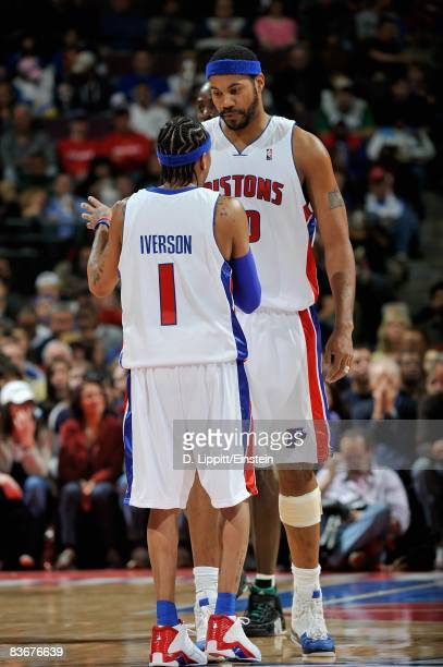 Allen Iverson and Rasheed Wallace of the Detroit Pistons talk on the court during the game against the Boston Celtics on November 9 2008 at The...