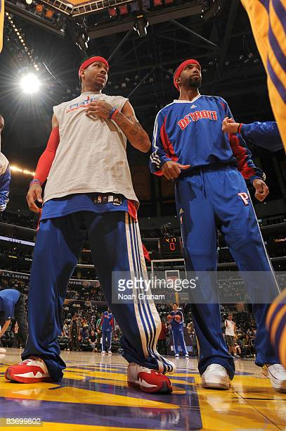Allen Iverson and Richard Hamilton of the Detroit Pistons are shown prior to a game against the Los Angeles Lakers at Staples Center on November 14...