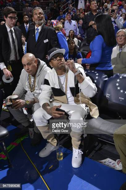 Allen Iverson attends a game between Miami Heat and the Philadelphia 76ers in Game Two of Round One of the 2018 NBA Playoffs on April 16 2018 at the...