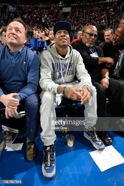 Allen Iverson attends a game between Phoenix Suns and Philadelphia 76ers on November 19 2018 at the Wells Fargo Center in Philadelphia Pennsylvania...