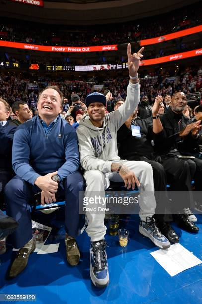 Allen Iverson attends the game between the Philadelphia 76ers and Phoenix Suns on November 19 2018 at the Wells Fargo Center in Philadelphia...