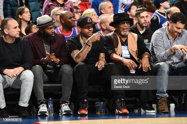 Allen Iverson attends the game between the Philadelphia 76ers and Utah Jazz on November 16 2018 at the Wells Fargo Center in Philadelphia...
