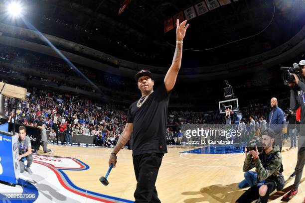 Allen Iverson attends the game between the Utah Jazz and the Philadelphia 76ers on November 16 2018 at Wells Fargo Center in Philadelphia...