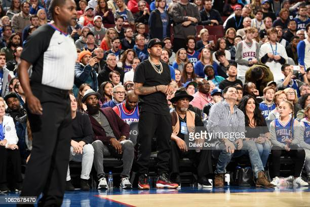 Allen Iverson attends the game between the Utah Jazz and the Philadelphia 76ers on November 16 2018 at the Wells Fargo Center in Philadelphia...