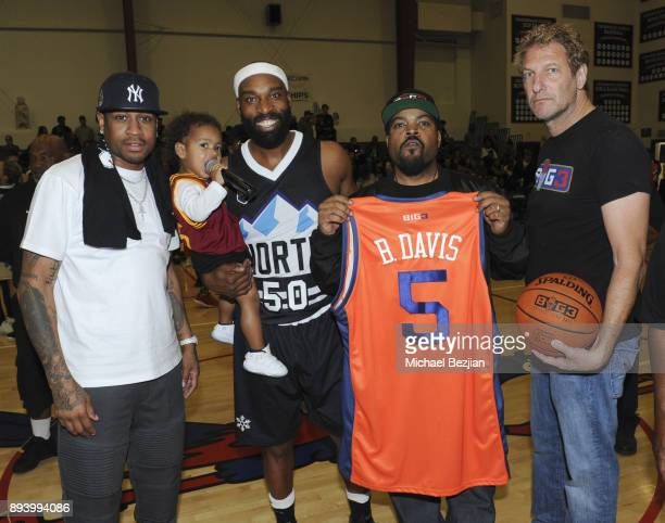 Allen Iverson Baron Davis Ice Cube and Jeff Kwantinetz pose for portrait at Baron Davis hosts Black Santa Celebrity Basketball Fundraiser on December...