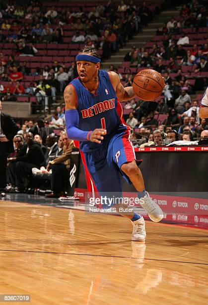 Allen Iverson drives to the basket during his first game as a Detroit Piston against the New Jersey Nets on November 7 2008 at the IZOD Center in...