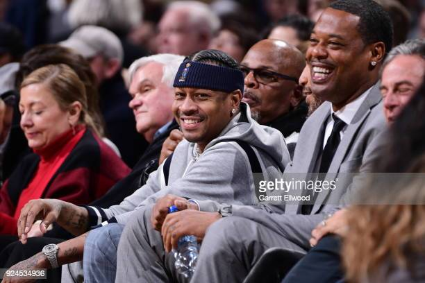 Allen Iverson enjoys the game between the San Antonio Spurs and Denver Nuggets on February 23 2018 at the Pepsi Center in Denver Colorado NOTE TO...