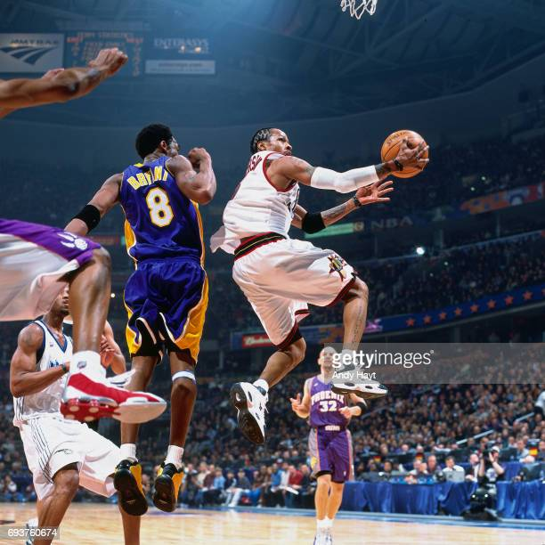 Allen Iverson goes up for a lay up during the 2000 NBA AllStar Game played at The Arena in Oakland on February 13 2000 in Oakland California NOTE TO...