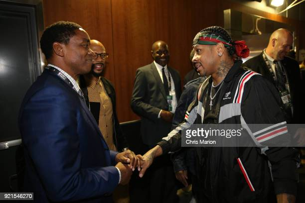 Allen Iverson greets Isiah Thomas during the NBA AllStar Game as a part of 2018 NBA AllStar Weekend at STAPLES Center on February 18 2018 in Los...