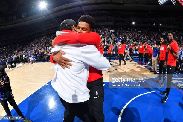 Allen Iverson hugs Kyle Lowry of the Toronto Raptors prior to the game between the Philadelphia 76ers and Toronto Raptors on February 5 2019 at the...