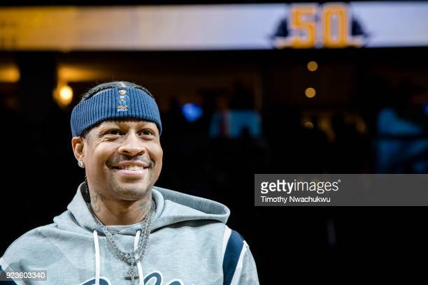 Allen Iverson is honored during the Denver Nuggets 2000's Night halftime presentation at Pepsi Center on February 23 2018 in Denver Colorado NOTE TO...