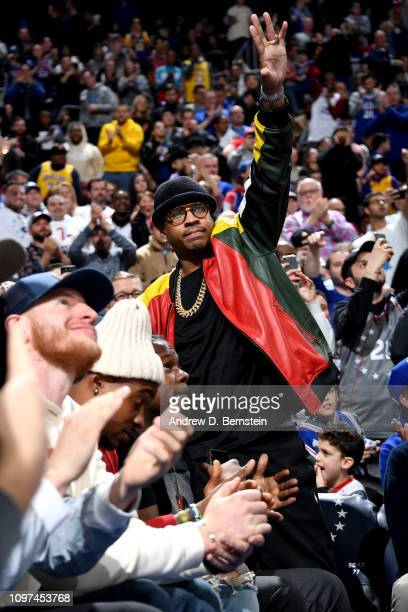 Allen Iverson is seen at the game between the Philadelphia 76ers and the Los Angeles Lakers on February 10 2019 at the Wells Fargo Center in...