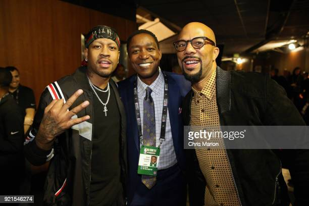 Allen Iverson Isiah Thomas and Common enjoy the NBA AllStar Game as a part of 2018 NBA AllStar Weekend at STAPLES Center on February 18 2018 in Los...
