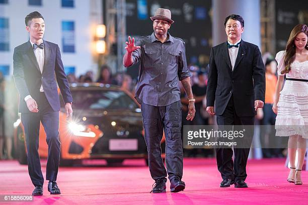 Allen Iverson Jessica Jung and Pakho Chau walk the Red Carpet event at the World Celebrity ProAm 2016 Mission Hills China Golf Tournament on October...