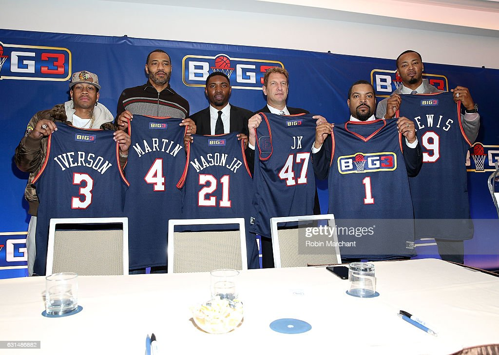 Allen Iverson, Kenyon Martin, Roger Mason Jr., Jeff Kwatinetz, Ice Cube, and Rashard Lewis attend BIG3 Press Conference on January 11, 2017 in New York City.