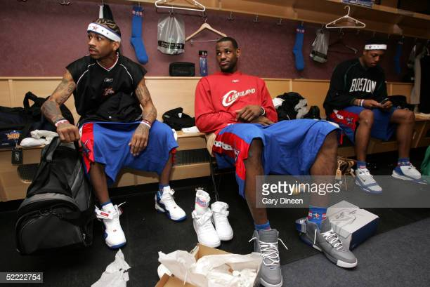 Allen Iverson LeBron James and Paul Pierce of the Eastern Conference AllStars in the locker room prior to the 54th AllStar Game part of 2005 NBA...