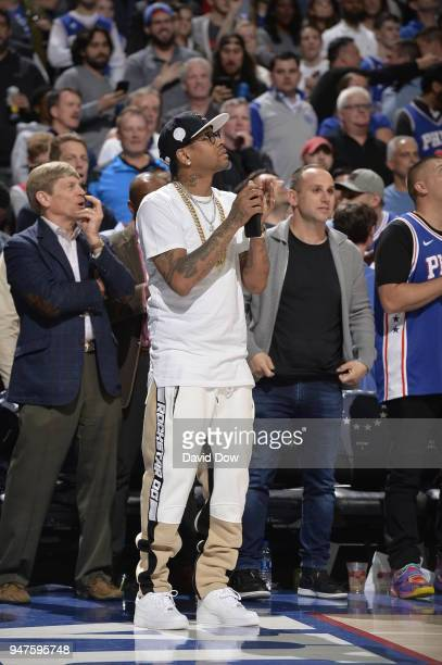 Allen Iverson looks on during a game between Miami Heat and the Philadelphia 76ers in Game Two of Round One of the 2018 NBA Playoffs on April 16 2018...