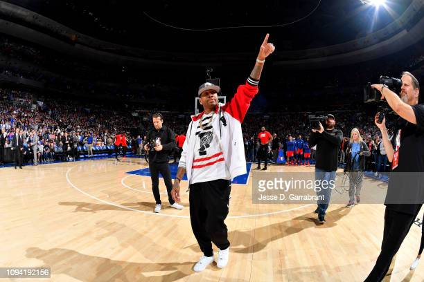 Allen Iverson looks on prior to the game between the Philadelphia 76ers and Toronto Raptors on February 5 2019 at the Wells Fargo Center in...
