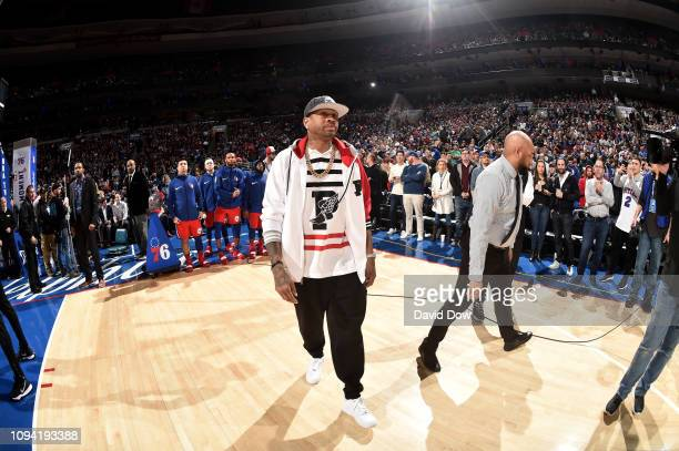 Allen Iverson looks on prior to the game between the Toronto Raptors and Philadelphia 76ers on February 5 2019 at the Wells Fargo Center in...