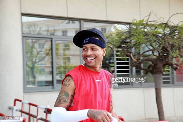 Allen Iverson meets with fans during his visit to China on April 27 2012 in Ningbo Zhejiang Province of China